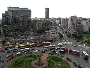 Slavija Square - The busy roundabout on Slavjia Square