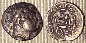 Euthydemus I - Barbaric copy of a coin of Euthydemus, from the region of Sogdiana. The legend on the reverse is in aramaic. Such coins suggest that Euthydemus ruled, and then lost the territory of Sogdiana.