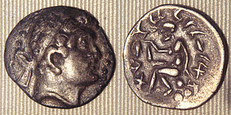 Euthydemus I - Barbaric copy of a coin of Euthydemus from the region of Sogdiana. The legend on the reverse is in Aramaic. Such coins suggest that Euthydemus ruled, and then lost, the territory of Sogdiana.