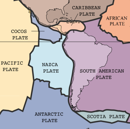 Graphic representation of the southeastern Pacific tectonic plates near Chile which cause earthquakes in that region.