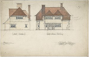 Charles Edward Mallows - South Elevation and East or Entrance Elevation of a House, by Charles Edward Mallows, 1909