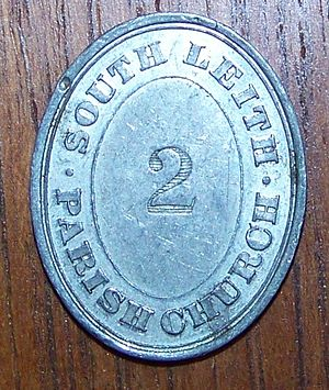 Exonumia - Obverse of a communion token from South Leith Parish Church