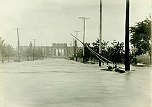A flooded roadway