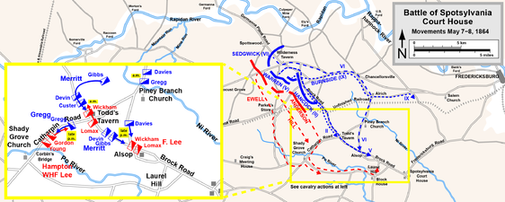 Movements on May 7, 1864; cavalry actions inset
