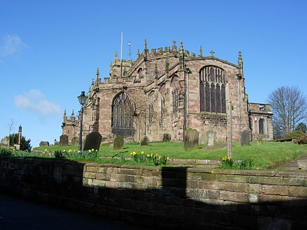 St Oswald's Church, Malpas Cheshire where Thomas Stockton is said to be buried- the south east view. St oswalds malpas from se.JPG