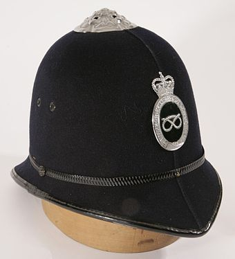 pre-1968 Staffordshire police helmet, in the collection of Staffordshire County Museum