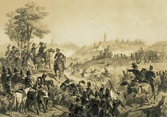 Stanislao Grimaldi Dal Poggetto - battaglia di Pastrengo -litografia -ca.1860