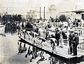 Start of the 100 Yard Swimming Dash, Championship Heat, Zoltan Holoway of Hungary (extreme left), winner at the 1904 Olympics.jpg