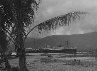 Manunda, Queensland - TSMV Manunda entering the harbour at Cairns, 1953