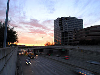 Texas State Highway Spur 366 - Facing west from Harwood Street towards buildings in the International Center neighborhood of Uptown (before the construction of Klyde Warren Park)