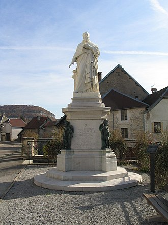 Ornans - Statue of Cardinal Antoine Perrenot de Granvelle by Jean Petit, 1897