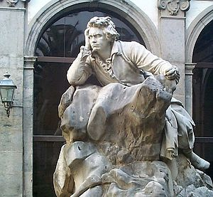Music conservatories of Naples - Beethoven Statue (1895) by Jerace in the cloister of Conservatory.