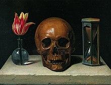 Simboloj de morto en pentraĵo: ĝi montras floron, kranion kaj sablohorloĝon
