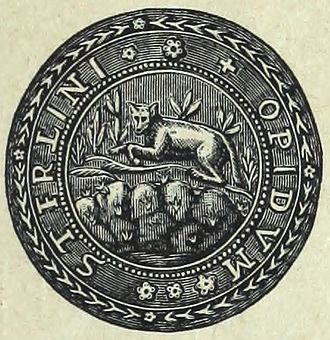 Stirling - The Wolf Craig Seal. The ancient coat of arms of Stirling also show a wolf upon a rock above a stream.