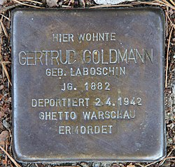Photo of Gertrud Goldmann brass plaque