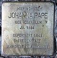 Stolperstein Düsseldorfer Str 42 (Wilmd) Johanna Pape.jpg