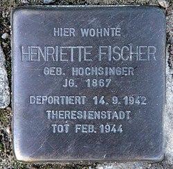 Photo of Henriette Fischer brass plaque