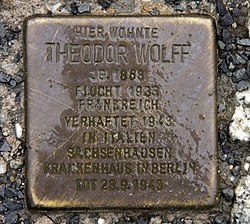 Photo of Theodor Wolff brass plaque