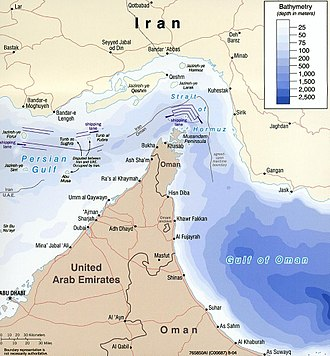 Strait of Hormuz - Map of Strait of Hormuz with maritime political boundaries (2004)