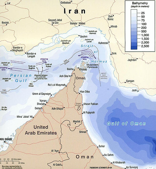 Map of Strait of Hormuz with maritime political boundaries (2004) Strait of hormuz full.jpg