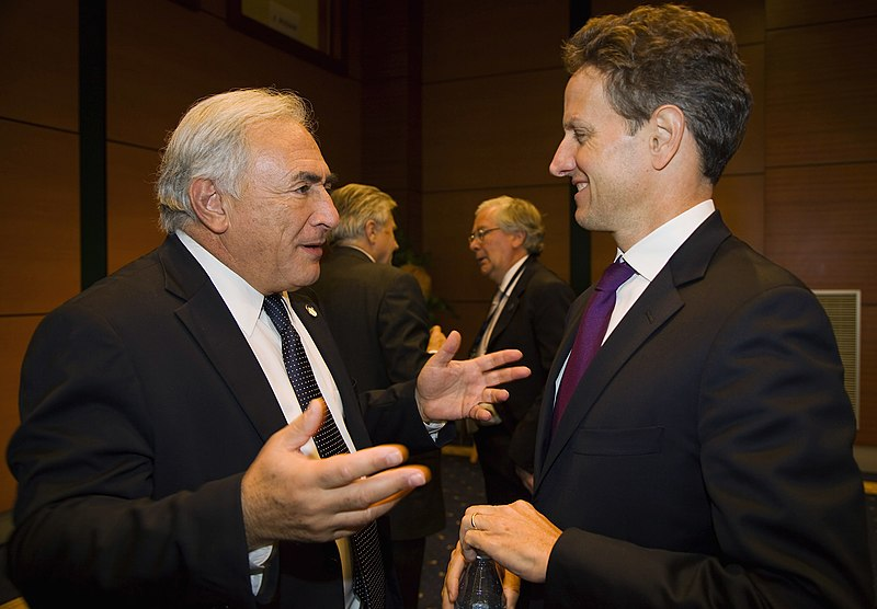 Regime Change at the IMF: The Frame Up of Dominique Strauss Kahn?  800px Strauss Kahn, Geithner (IMF 2009)