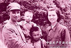 Chu Qing - Chu Qing, Su Yu, and their sons Su Rongsheng and Su Hansheng in Shanghai, September 1949