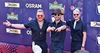 SunStroke Project - SunStroke Project at the red carpet ceremony for Eurovision 2017 (Left to right: Sergey Stepanov, Sergei Yalovitsky, Anton Ragoza)
