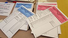 Republican and Democratic party ballots in a Massachusetts polling location, 2016
