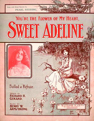 Sweet Adeline (song) - Cover of 1903 sheet music, with inset photo of singer Pearl Redding