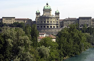 Federal Palace of Switzerland - Federal Palace from the South, with the West and East wings.