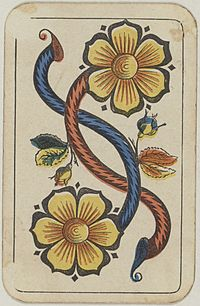 Swiss card deck - 1850 - 2 of Flowers.jpg