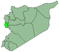Map of Syria with Tartous highlighted.
