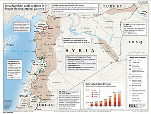 Refugees of the Syrian Civil War - Number and location of people fleeing the violence in Syria, 13 June 2012.