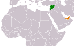 Map indicating locations of Syria and United Arab Emirates