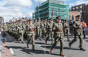 Easter Rising centenary parade - Members of the Irish Army march past