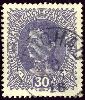 Tachov - Austrian KK 30 heller stamp, cancelled TACHAU in 1918