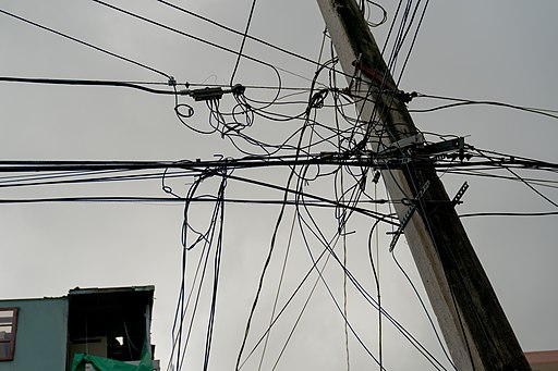 Tangled power lines in Puerto Rico