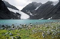 A Tarfala gleccser és tó, Lappföldön, észak Norrland
