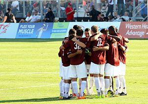 Sacramento Republic FC - Republic huddle before second half of a friendly against Atlas FC