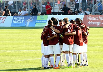 Sacramento Republic FC - Republic huddle before second half of a friendly against Atlas FC