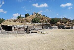 Cholula, Puebla - View of Pyramid and church