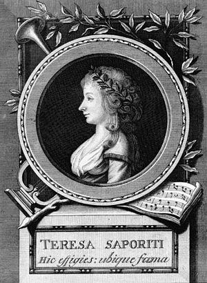 "Teresa Saporiti - 1791 portrait of Teresa Saporiti. The Latin inscription reads: ""Her image here, her fame everywhere""."