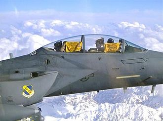 Terrible Towel - Air Force F-15E Strike Eagle pilot,  Captain Daniel Susich,  showing their Terrible Towels in flight over Afghanistan