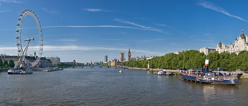Panorama view of the River Thames, London