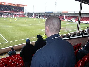Road (sports) - Away fans at Walsall F.C.'s Bescot Stadium.