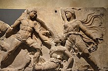 The Bassai sculptures, marble block from the frieze of the Temple of Apollo Epikourios at Bassae (Greece), Greeks fight Amazons, about 420-400 BC, British Museum (14258035892).jpg