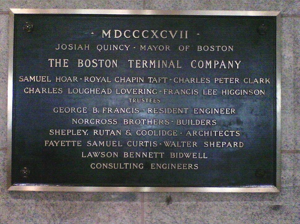 The Boston Terminal Company plaque