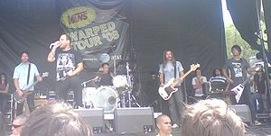 The Bronx (band) - The Bronx performing on the Warped Tour in Chula Vista, California on August 14, 2008. Left to right: Joby J. Ford, Matt Caughthran, Jorma Vik, Brad Magers, and Ken Horne.