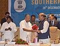 The Chief Minister of Kerala, Shri Pinarayi Vijayan welcoming the Union Home Minister, Shri Rajnath Singh at the 27th Southern Zonal Council meeting, in Thiruvananthapuram.jpg