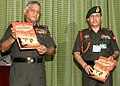 The Chief of Army Staff, Gen. V.K. Singh releasing a book titled `Foot Prints - On the sand of Time`, in New Delhi on April 27, 2011.jpg